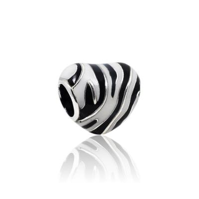 Pandora 潘朵拉 斑馬紋琺瑯愛心 純銀墜飾 串珠