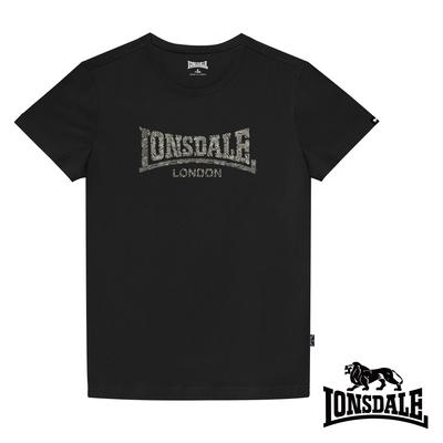 【LONSDALE 英國小獅】極簡植絨LOGO短袖T恤-黑色LT003