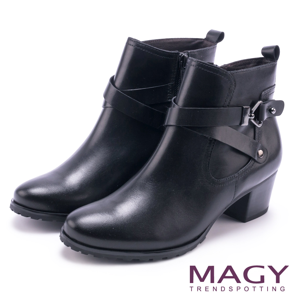 MAGY 街頭率性 交叉皮帶牛皮工程踝靴-黑色
