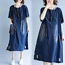 牛仔磨白口袋連衣裙-藍色(F可選)     NUMI  復古
