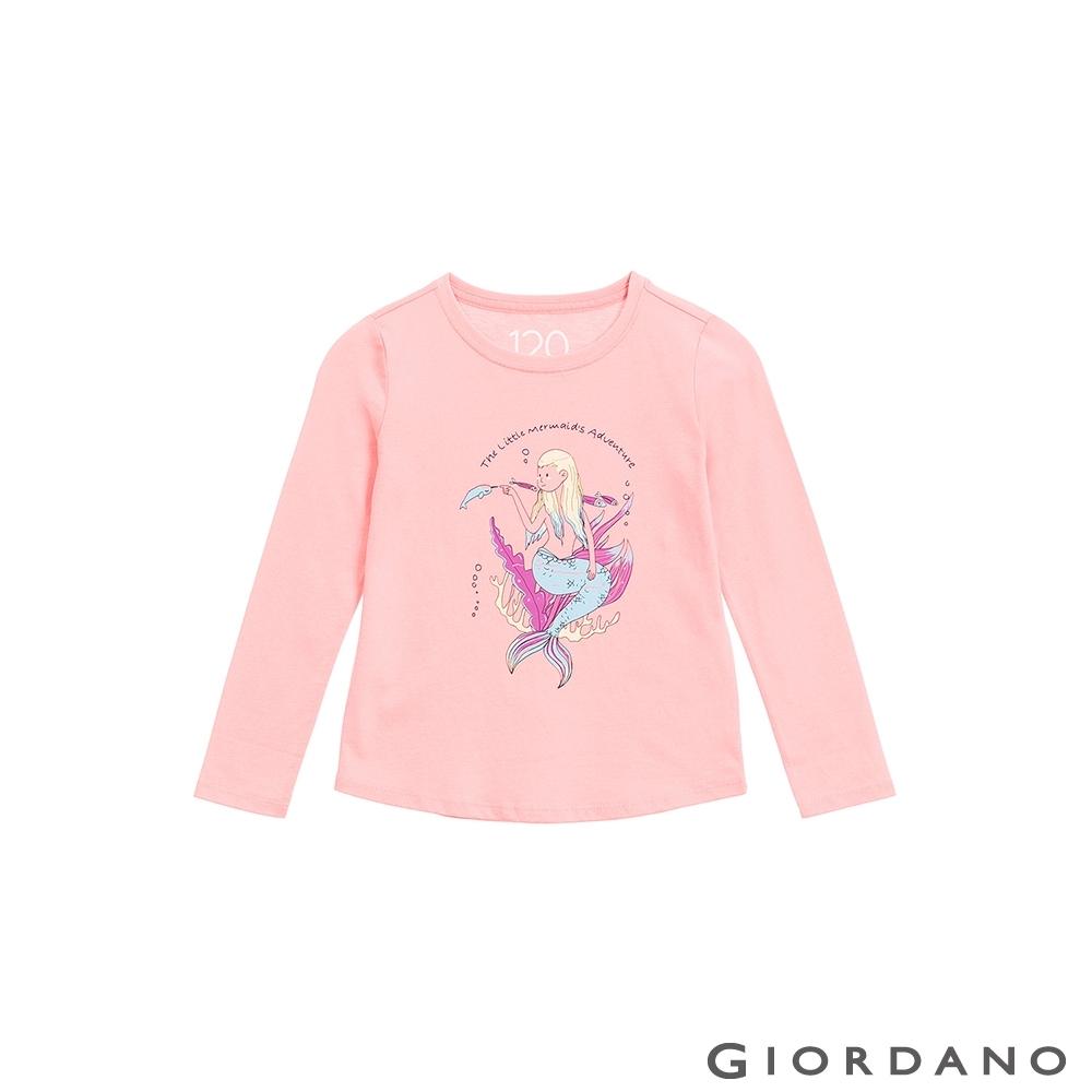 GIORDANO 童裝美好時光純棉T恤 - 02 粉末粉紅