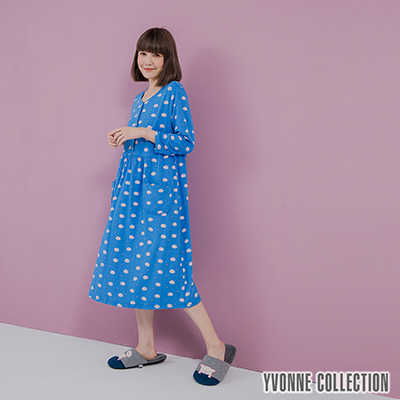 YVONNE手繪豬豬印花開襟七分袖洋裝-藍