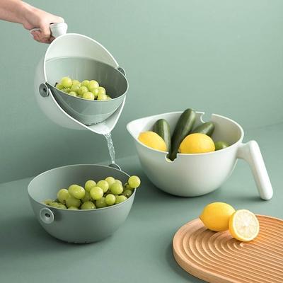 手把款蔬果洗菜旋轉雙層瀝水籃