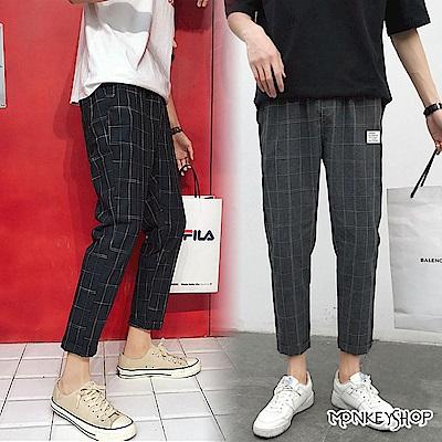 Monkey Shop 日系時尚格紋休閒修身剪裁九分工作長褲-2色