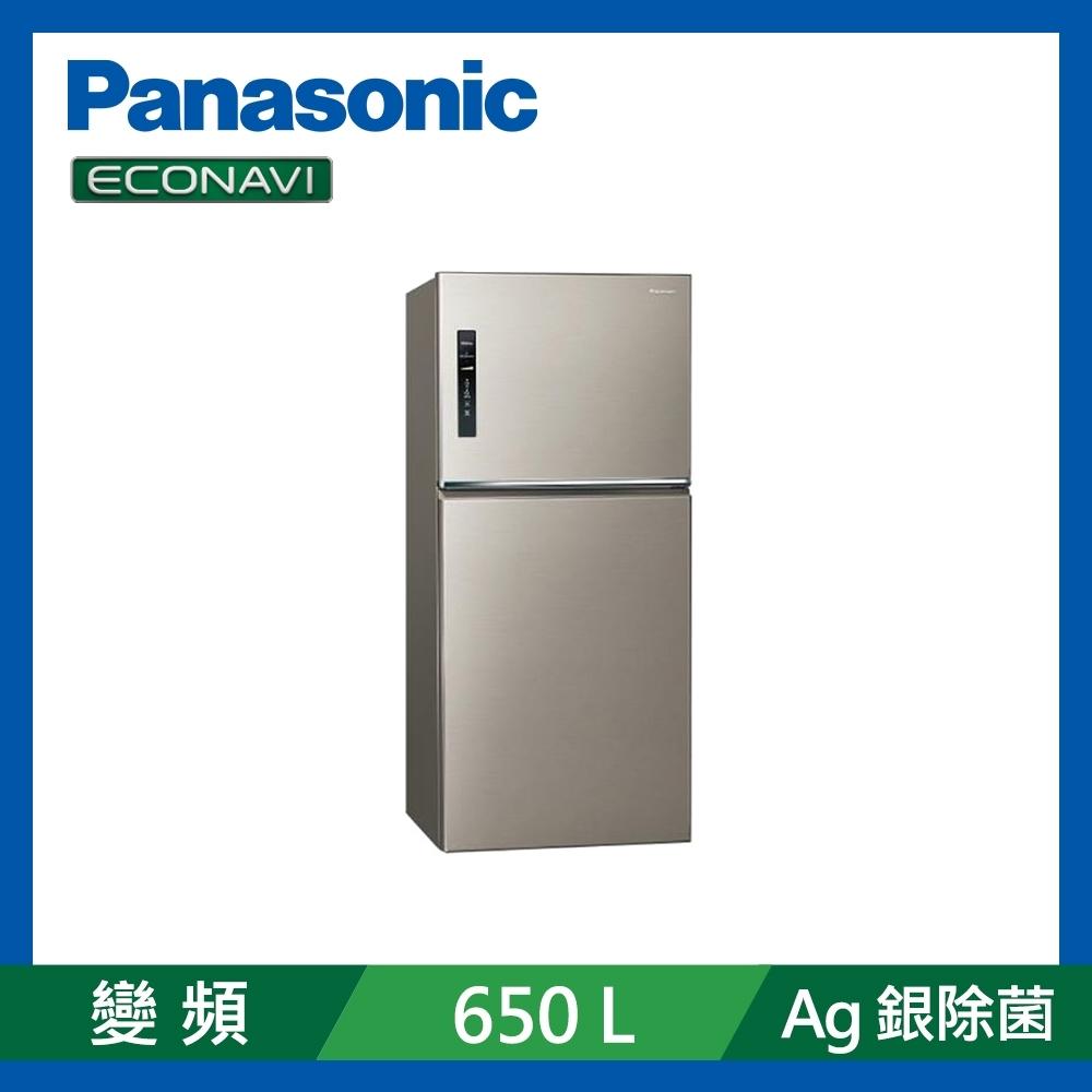 [館長推薦] Panasonic國際牌 650L 台灣製 一級能效變頻ECONAVI無邊框鋼板雙門冰箱 NR-B659TV-S1 星耀金