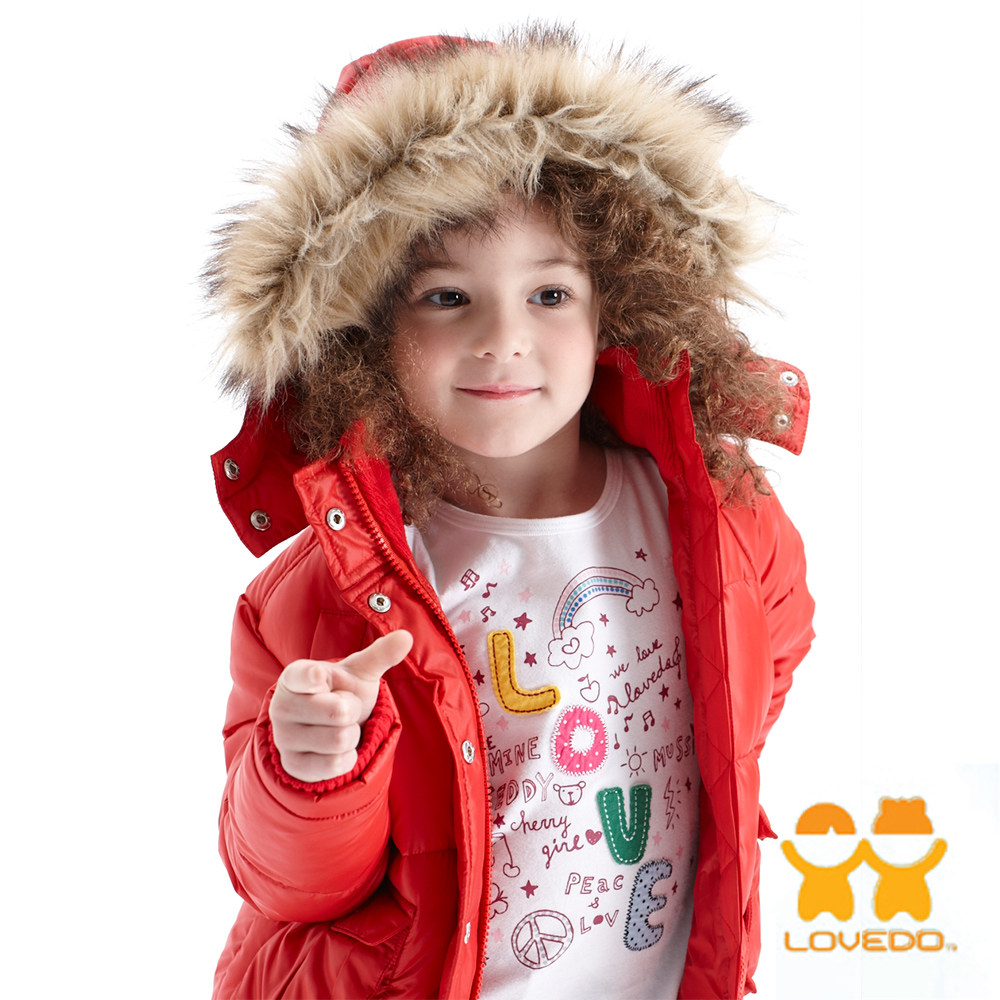 【LOVEDO-艾唯多童裝】童話紅帽 保暖毛毛連帽鋪棉外套(紅)