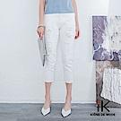 iK-刷破高腰修身白色丹寧七分褲