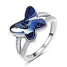 RJ New York 蝴蝶藍夢水晶925純銀晶鑽交錯戒指 藍色