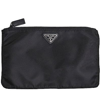 PRADA VELA 金屬三角品牌LOGO手拿/化妝機能包(黑)