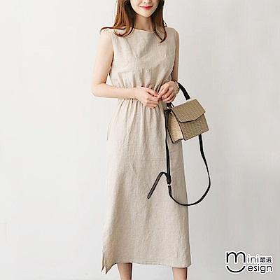 無袖縮腰側邊開叉中長連身裙洋裝 杏色-mini嚴選