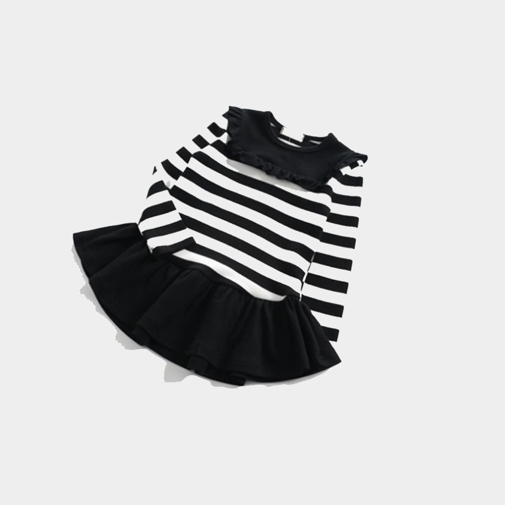 【韓品童裝】女童 中小童長袖條紋連身洋裝 product image 1