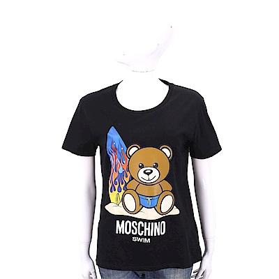 MOSCHINO Swim 沙灘衝浪泰迪熊寶寶黑色棉質T恤
