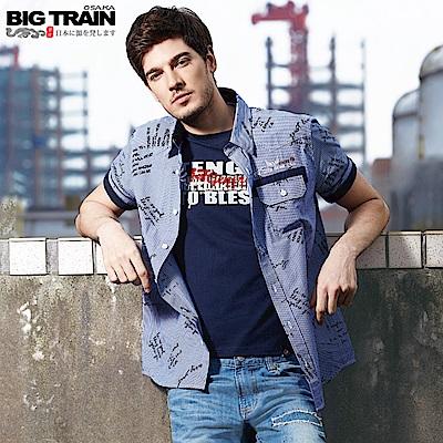 Big Train 加大文字細條紋短袖襯衫-男-深藍