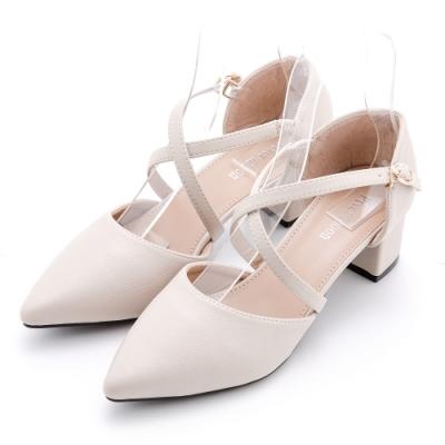 River&Moon大尺碼35-44 韓系交叉繫帶瑪莉珍跟鞋 米白