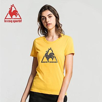 le coq sportif 法國公雞牌經典圓領LOGO印花短袖T恤 女-黃