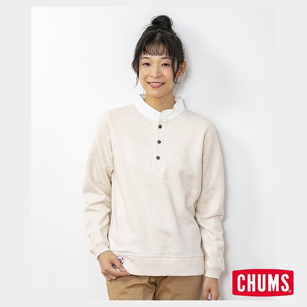 CHUMS 日本 女 35周年紀念半開套頭衫 Boobies 米