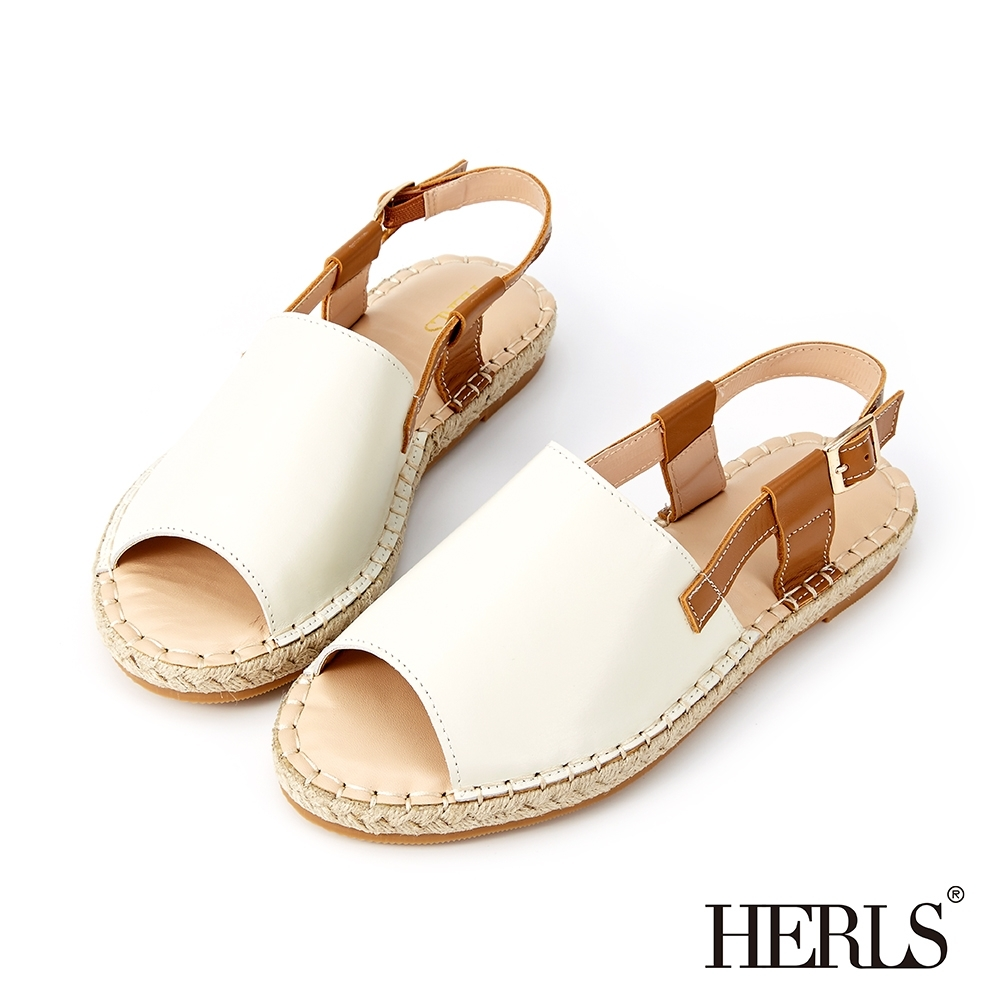 HERLS 涼夏漫步 寬版真皮麻編露趾涼鞋-米白色
