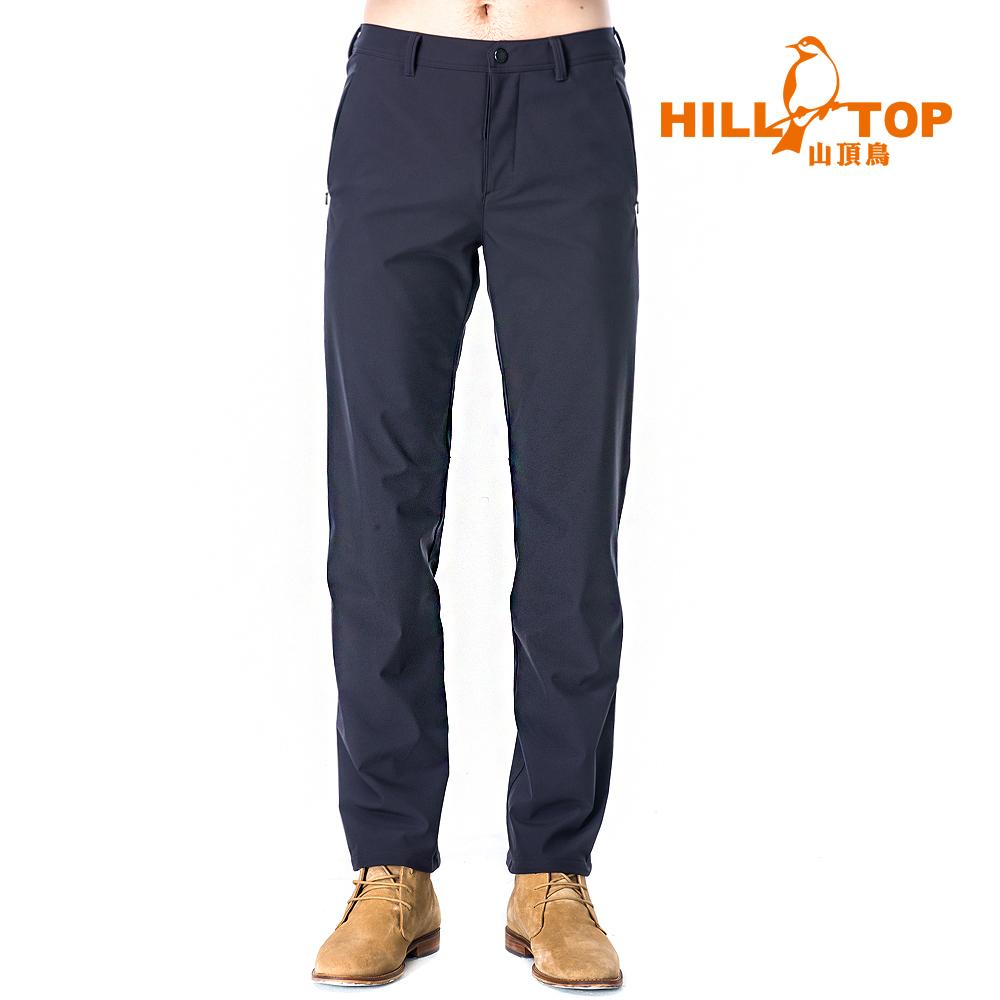 【hilltop山頂鳥】男款抗風超潑水彈性保暖長褲H31MK6瑪瑙黑