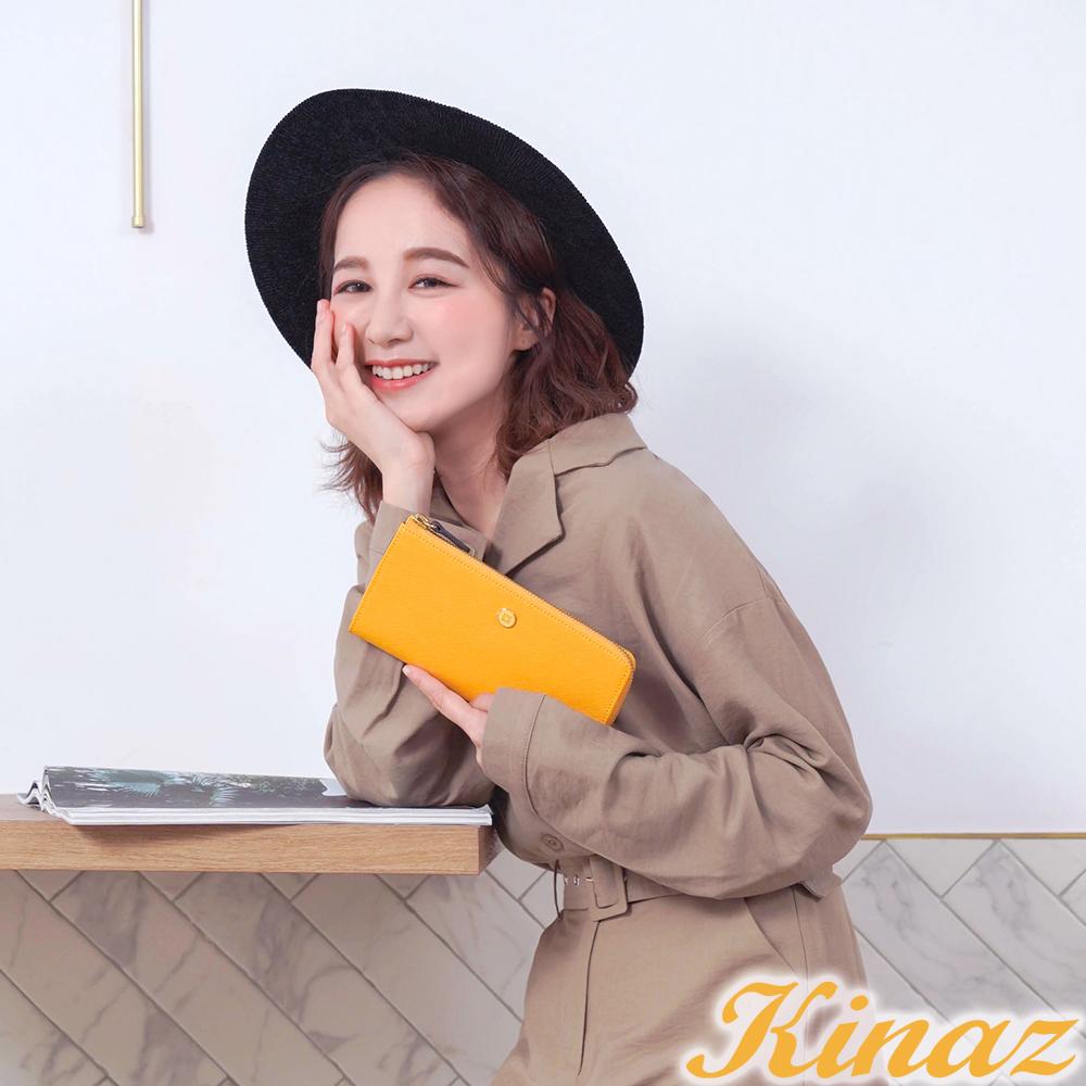 KINAZ 七彩露珠L型拉鍊長夾-陽光黃-繡球花系列