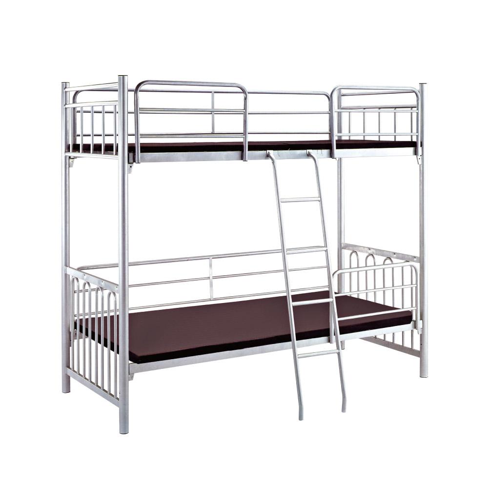 文創集 艾許時尚銀3尺鐵製單人雙層床台(不含床墊)-93x207x183cm免組