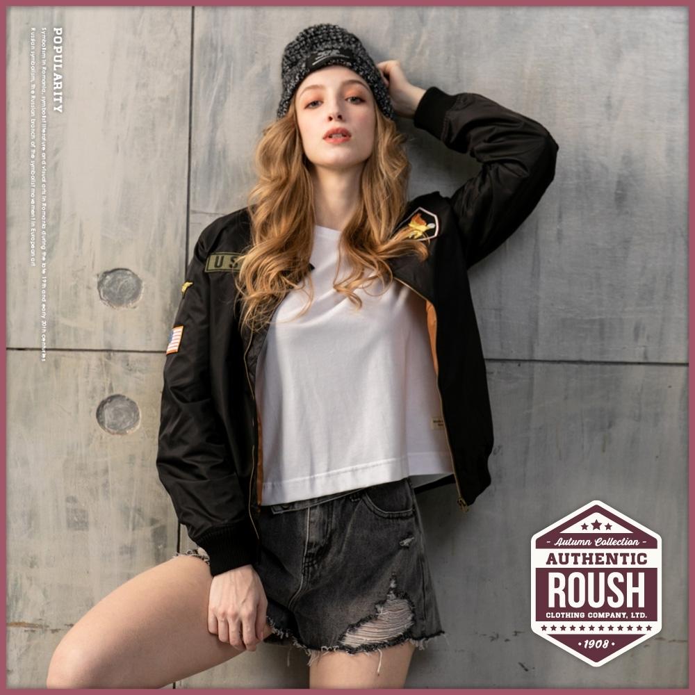 Roush over size女生USA貼布設計MA-1空軍外套(2色)