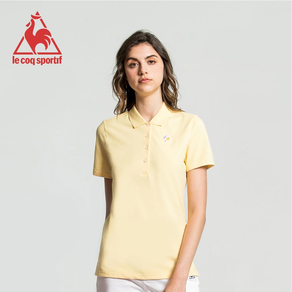 le coq sportif 法國公雞牌經典多色復古短袖POLO衫 女-淡黃