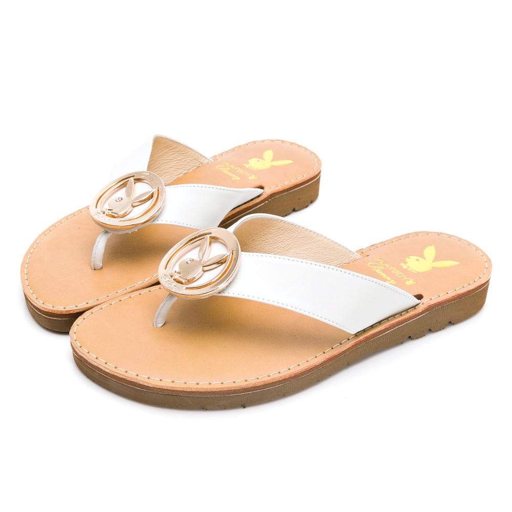 PLAYBOY  V型寬帶真皮涼拖鞋-白-Y732011