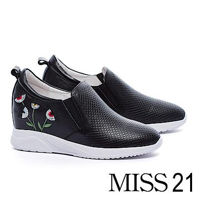 休閒鞋 MISS 21 搞怪時髦電繡媚眼壓紋牛皮內增高休閒鞋-黑