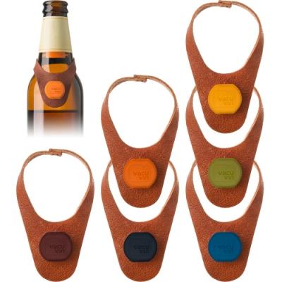 《VACU VIN》掛式矽膠酒瓶塞6入(皮革)