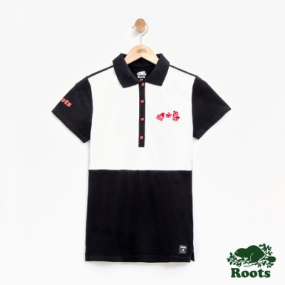 女裝Roots 加拿大系列色塊短袖POLO衫-黑