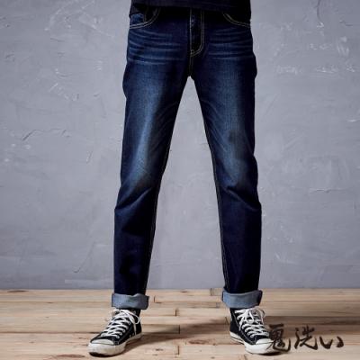 鬼洗 BLUE WAY-側45度爆裂鬼彈力中腰直筒褲