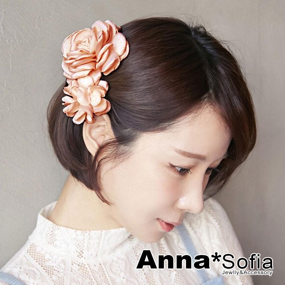 【滿額再7折】AnnaSofia 圓馨雙綣花 純手工中型髮飾髮夾(雙粉系)