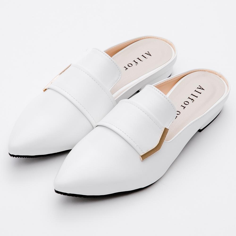 River&Moon穆勒-簡約金飾尖頭穆勒低跟鞋 白