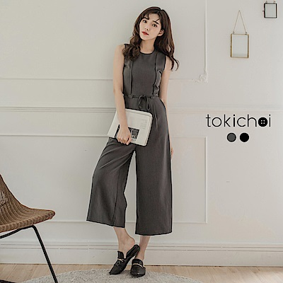 東京著衣 簡約優雅無袖綁帶連身褲-S.M.L(共二色)