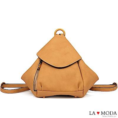La Moda 實用性極佳多種背法肩背斜背後背包(駝)