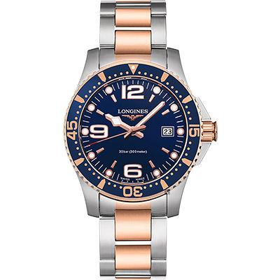 LONGINES浪琴 深海征服者300米潛水石英錶-藍x雙色版/41mm