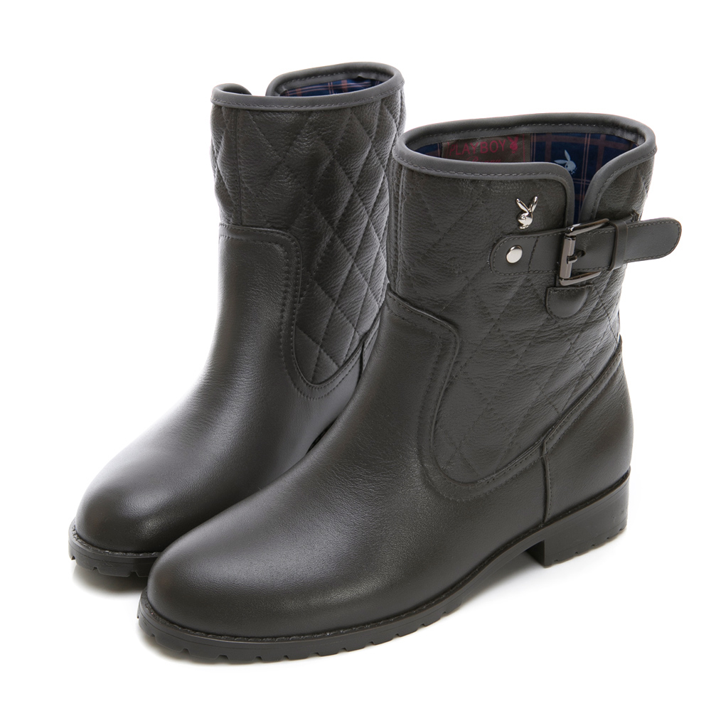 PLAYBOY雨季漫步 菱格壓紋短筒雨靴-灰