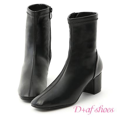 D+AF 韓流指標.簡約素面方頭中跟短靴*黑