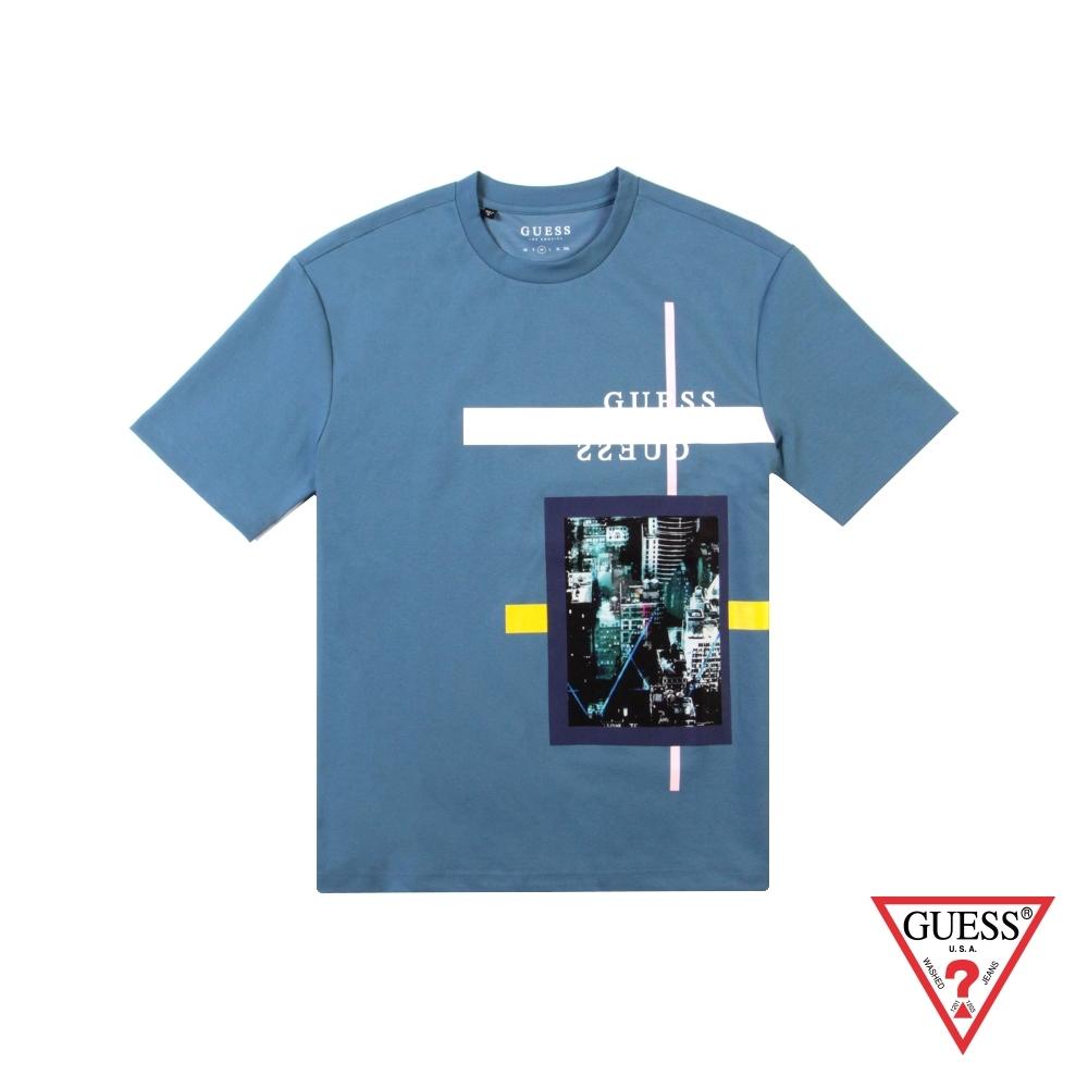 GUESS-男裝-美式街景短T,T恤-藍 原價1990