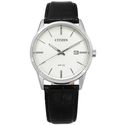 CITIZEN 經典簡約 日期 礦石強化玻璃 日本機芯 真皮手錶-米白x黑/39mm