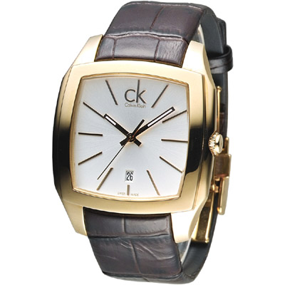 CK 金色殿堂時尚男錶-金框/褐色帶(K2K21620)/30mm