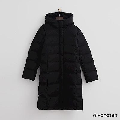 Hang Ten - 女裝 -立領連帽長版羽絨外套-黑