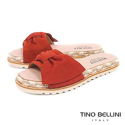 Tino Bellini 西班牙進口蝴蝶紐結雙色麻編厚底涼拖鞋 _ 橘紅