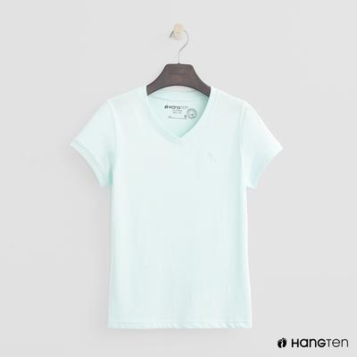 Hang Ten-女裝-有機棉-小V領純色T恤-薄荷綠