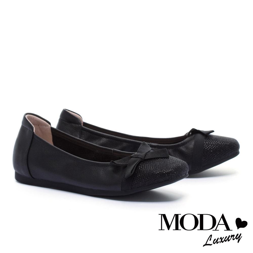 平底鞋 MODA Luxury 異材質拼接簡約素雅蝴蝶結織帶娃娃平底鞋-黑