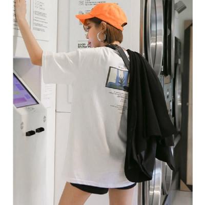 T恤 圓領個性印花短袖T恤NH19021-創翊韓都