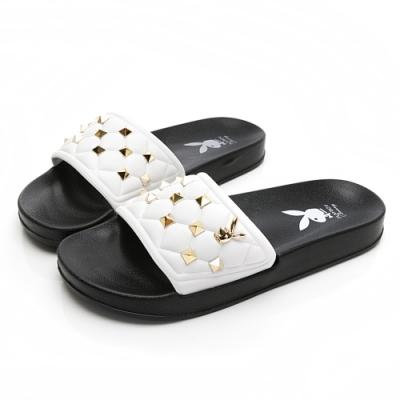PLAYBOY耀眼鉚釘格紋休閒拖鞋-白黑-YT6161C