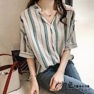 拼色V領條紋襯衫-共2色(M-2XL可選)      初色
