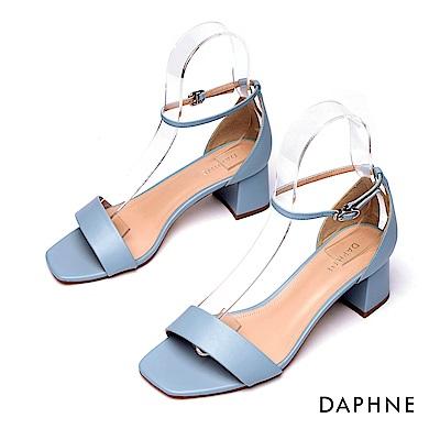 達芙妮DAPHNE 涼鞋-簡約一字帶繞踝粗跟涼鞋-藍色
