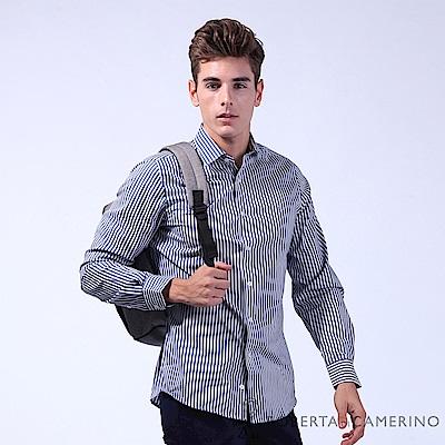 ROBERTA諾貝達 簡約型男 合身版 純棉直條紋長袖襯衫 藍白